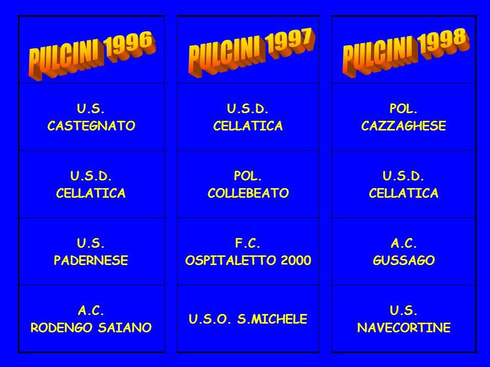 U.S. CASTEGNATO U.S.D. CELLATICA POL. CAZZAGHESE U.S.D. CELLATICA POL. COLLEBEATO U.S.D. CELLATICA U.S. PADERNESE F.C. OSPITALETTO 2000 A.C. GUSSAGO A