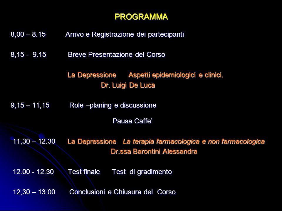 PROGRAMMA 8,00 – 8.15 Arrivo e Registrazione dei partecipanti 8,15 - 9.15 Breve Presentazione del Corso La Depressione Aspetti epidemiologici e clinici.