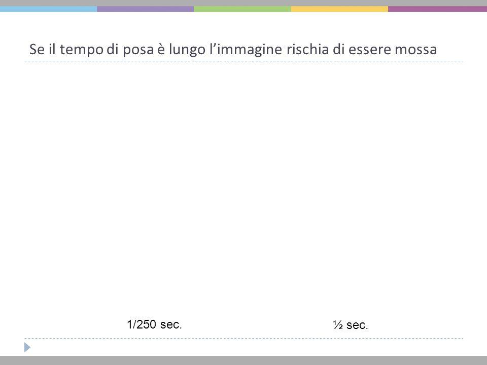 Se il tempo di posa è lungo l'immagine rischia di essere mossa 1/250 sec. ½ sec.