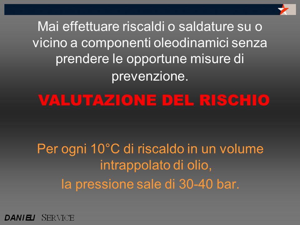 Mai effettuare riscaldi o saldature su o vicino a componenti oleodinamici senza prendere le opportune misure di prevenzione. Per ogni 10°C di riscaldo
