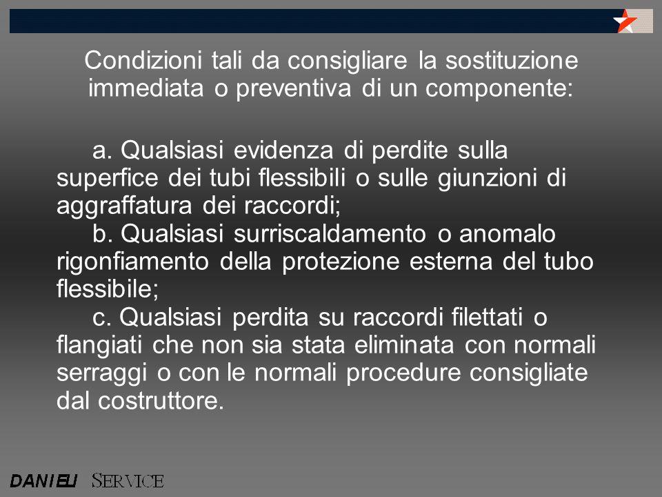 Condizioni tali da consigliare la sostituzione immediata o preventiva di un componente: a. Qualsiasi evidenza di perdite sulla superfice dei tubi fles