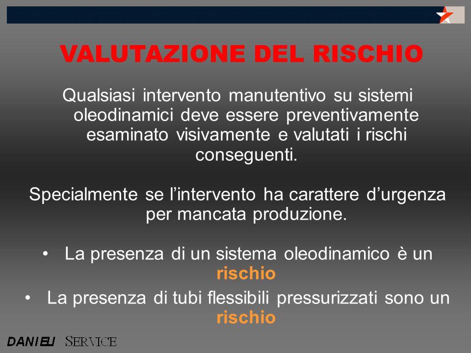 Qualsiasi intervento manutentivo su sistemi oleodinamici deve essere preventivamente esaminato visivamente e valutati i rischi conseguenti. Specialmen