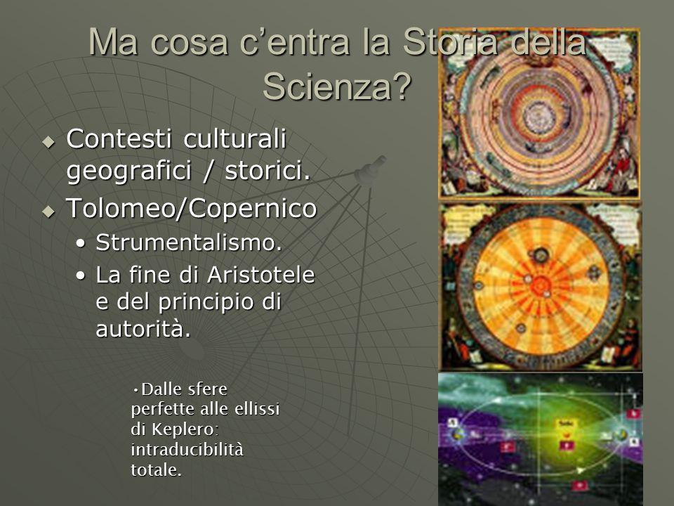 Ma cosa c'entra la Storia della Scienza.  Contesti culturali geografici / storici.