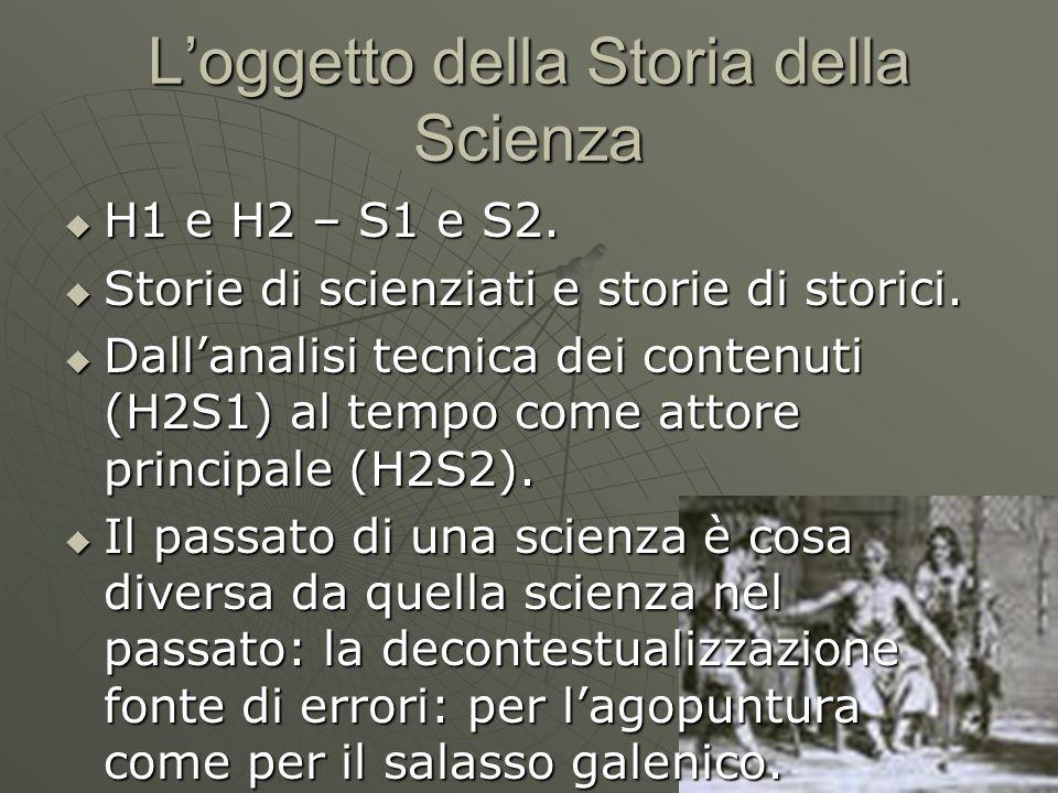 L'oggetto della Storia della Scienza  H1 e H2 – S1 e S2.