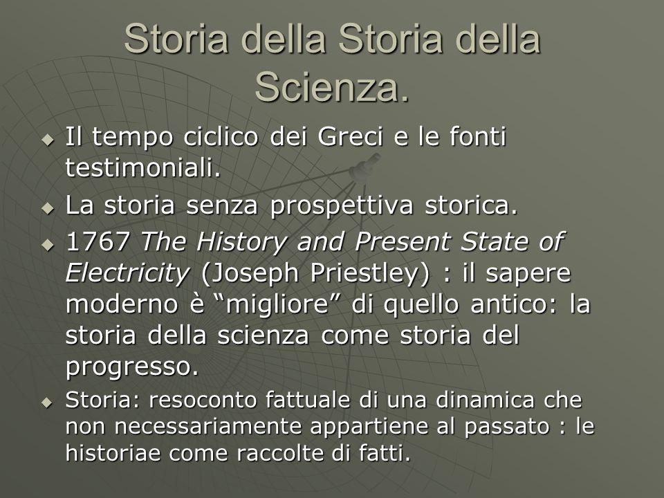 Storia della Storia della Scienza.  Il tempo ciclico dei Greci e le fonti testimoniali.