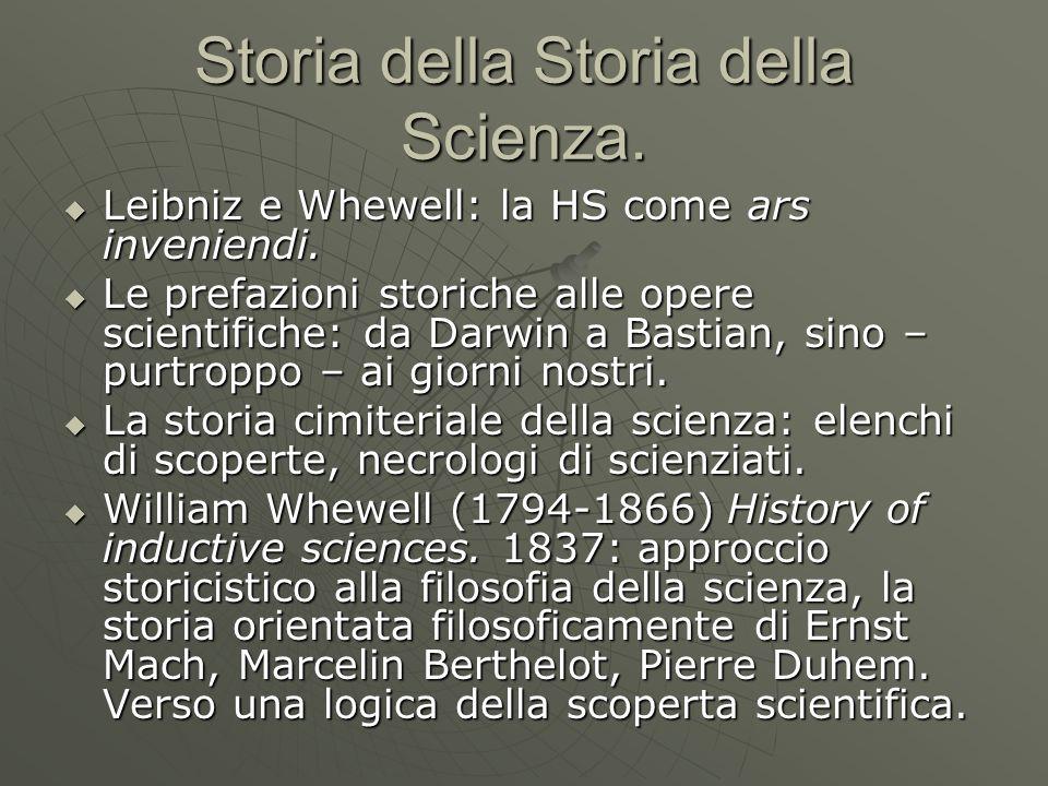 Storia della Storia della Scienza.  Leibniz e Whewell: la HS come ars inveniendi.