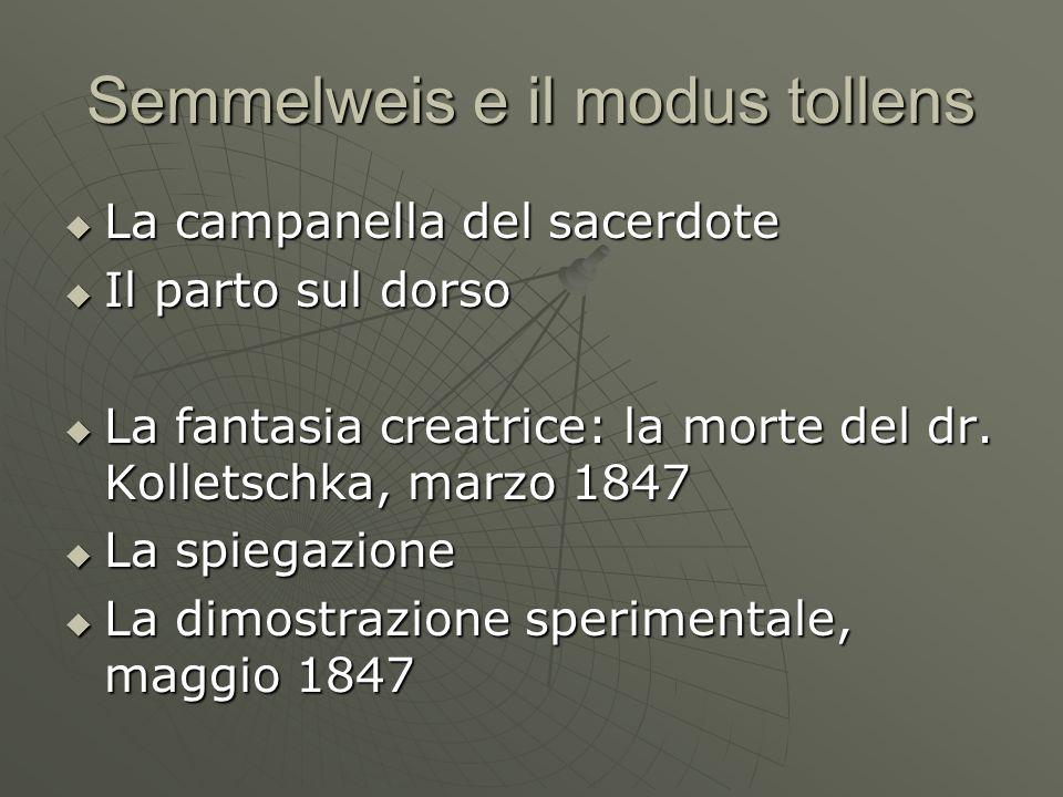 Semmelweis e il modus tollens  La campanella del sacerdote  Il parto sul dorso  La fantasia creatrice: la morte del dr.