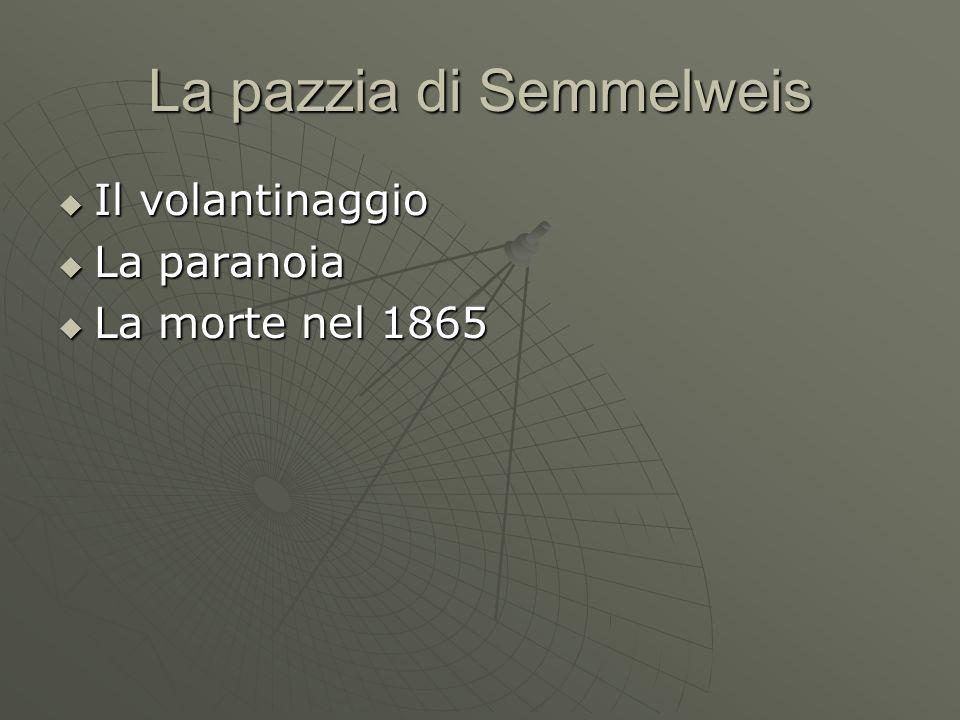 La pazzia di Semmelweis  Il volantinaggio  La paranoia  La morte nel 1865