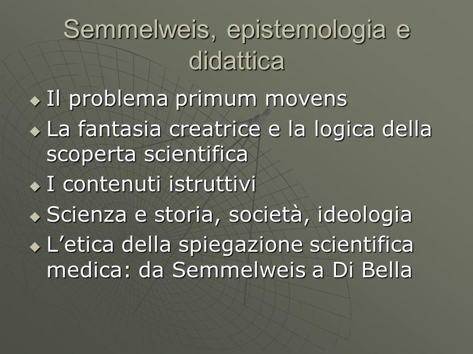 Semmelweis, epistemologia e didattica  Il problema primum movens  La fantasia creatrice e la logica della scoperta scientifica  I contenuti istruttivi  Scienza e storia, società, ideologia  L'etica della spiegazione scientifica medica: da Semmelweis a Di Bella