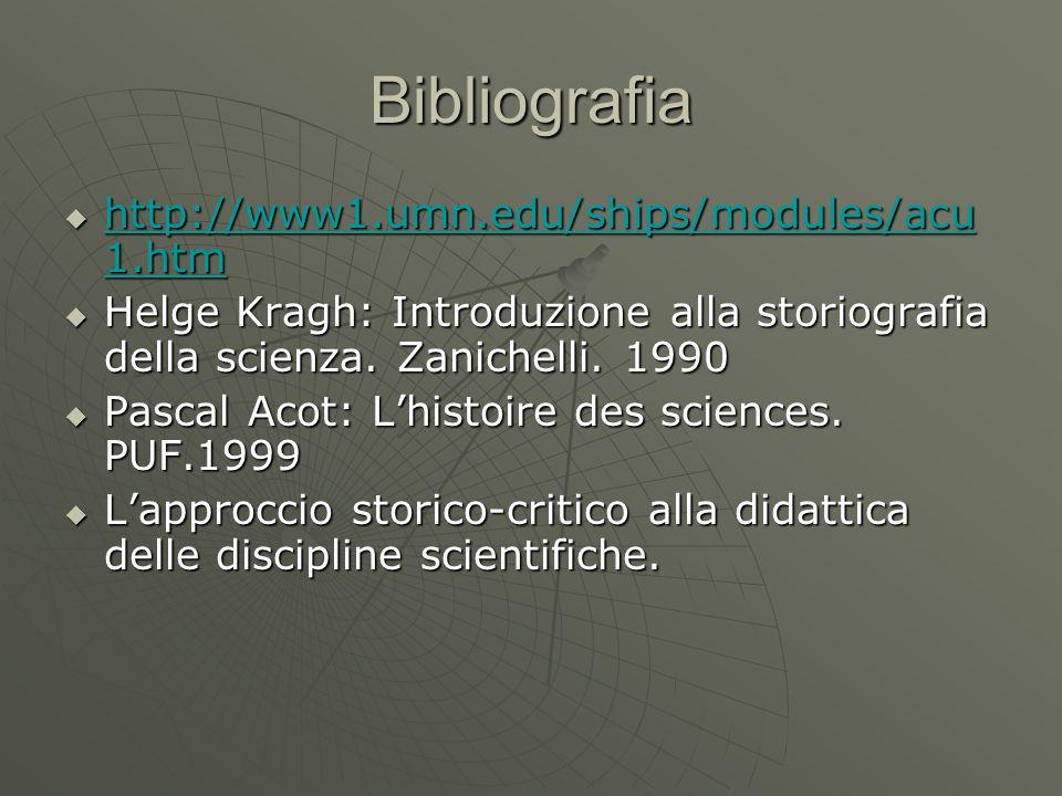 Bibliografia  http://www1.umn.edu/ships/modules/acu 1.htm http://www1.umn.edu/ships/modules/acu 1.htm http://www1.umn.edu/ships/modules/acu 1.htm  Helge Kragh: Introduzione alla storiografia della scienza.