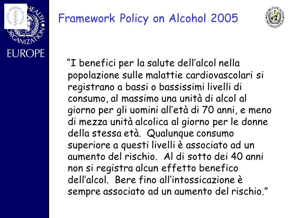 - Framework Policy on Alcohol 2005 I benefici per la salute dell'alcol nella popolazione sulle malattie cardiovascolari si registrano a bassi o bassissimi livelli di consumo, al massimo una unità di alcol al giorno per gli uomini all'età di 70 anni, e meno di mezza unità alcolica al giorno per le donne della stessa età.