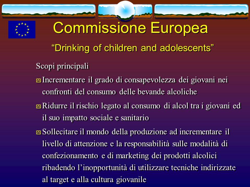 In EU and MS- nuove consensus A protezione dei giovani: No vendita/consumazione ai minorenni – controlli migliori; No attività di commercializzazione rivolte ai minorenni; Sostegno ad interventi con provati effetti sul bere minorile;