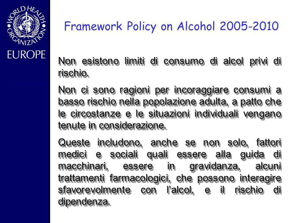 """- Framework Policy on Alcohol 2005 """"I benefici per la salute dell'alcol nella popolazione sulle malattie cardiovascolari si registrano a bassi o bassi"""