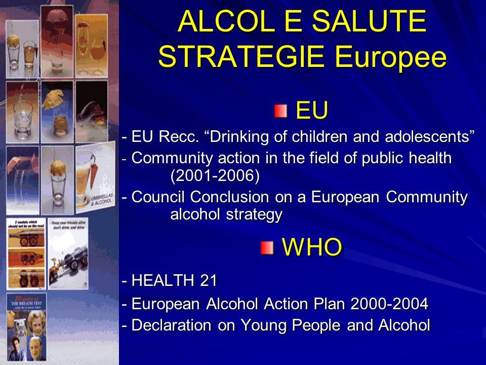 Dal 1992, il Piano d ' Azione Europeo sull ' Alcol (PAEA) ha fornito le basi per lo sviluppo e la realizzazione di politiche e programmi sull ' alcol