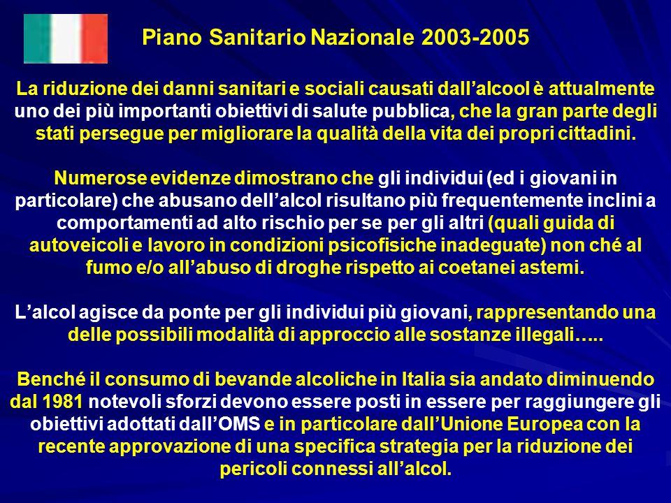Piano Sanitario Nazionale 2003-2005 La riduzione dei danni sanitari e sociali causati dall'alcool è attualmente uno dei più importanti obiettivi di sa