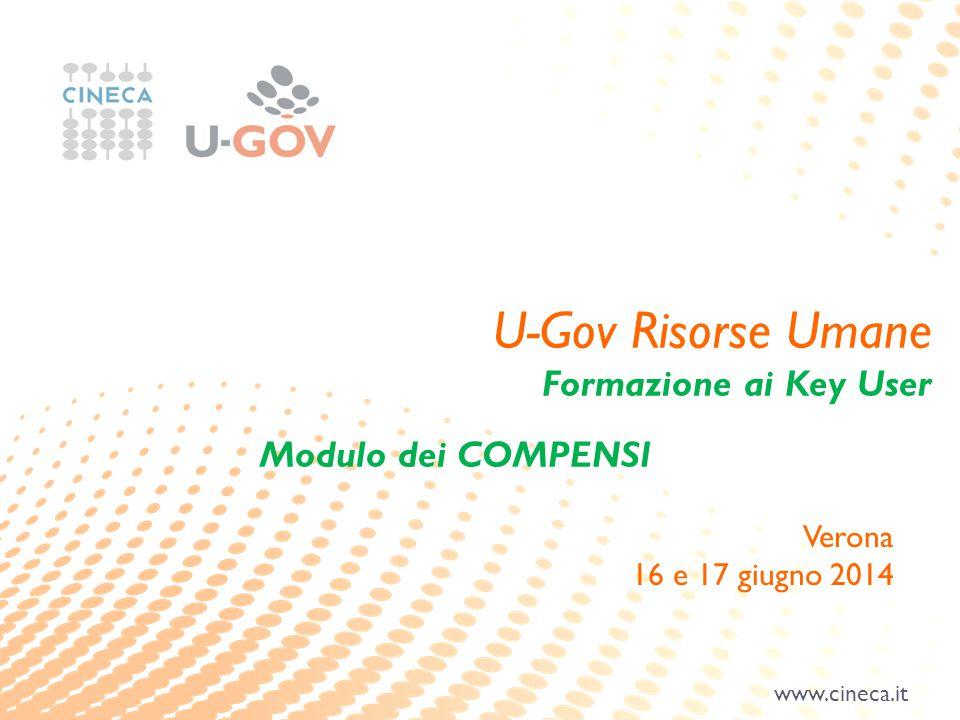 www.cineca.it U-Gov Risorse Umane Formazione ai Key User Modulo dei COMPENSI Verona 16 e 17 giugno 2014