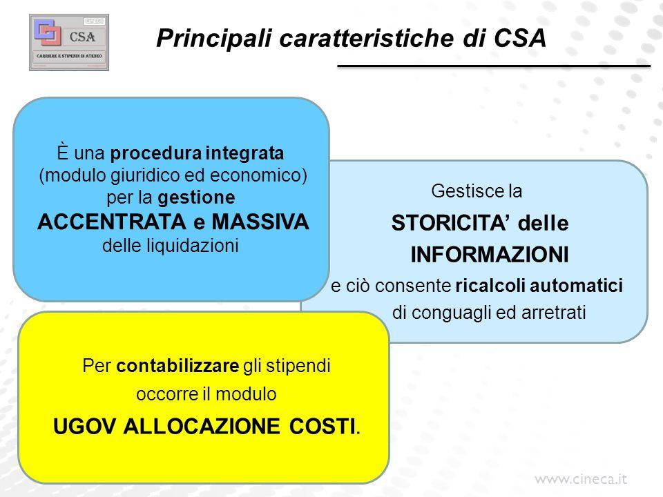 www.cineca.it Principali caratteristiche di CSA Gestisce la STORICITA' delle INFORMAZIONI e ciò consente ricalcoli automatici di conguagli ed arretrat