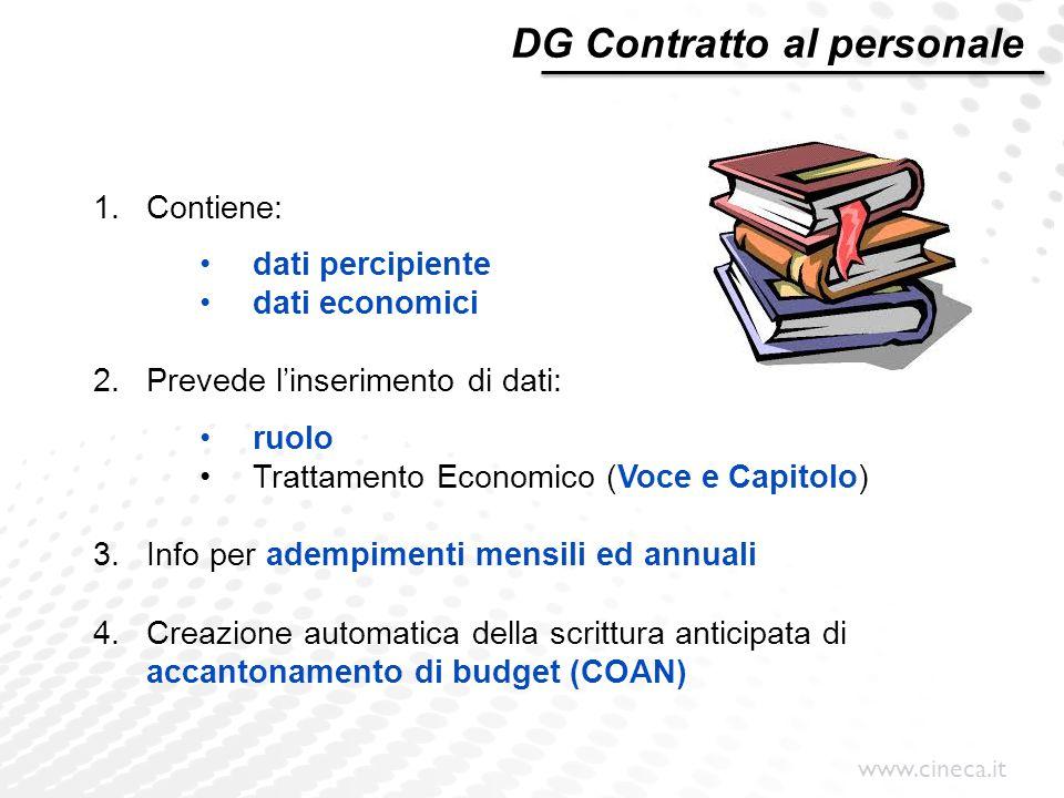 www.cineca.it DG Contratto al personale 1.Contiene: dati percipiente dati economici 2.Prevede l'inserimento di dati: ruolo Trattamento Economico (Voce