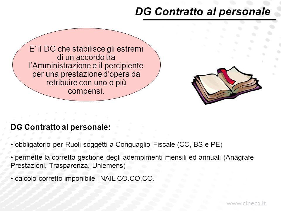 www.cineca.it E' il DG che stabilisce gli estremi di un accordo tra l'Amministrazione e il percipiente per una prestazione d'opera da retribuire con u