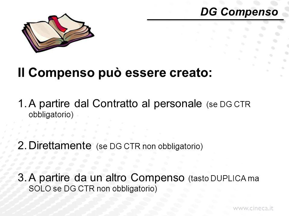 www.cineca.it DG Compenso Il Compenso può essere creato: 1.A partire dal Contratto al personale (se DG CTR obbligatorio) 2.Direttamente (se DG CTR non
