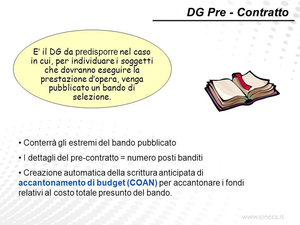 www.cineca.it E' il DG da predisporre nel caso in cui, per individuare i soggetti che dovranno eseguire la prestazione d'opera, venga pubblicato un ba