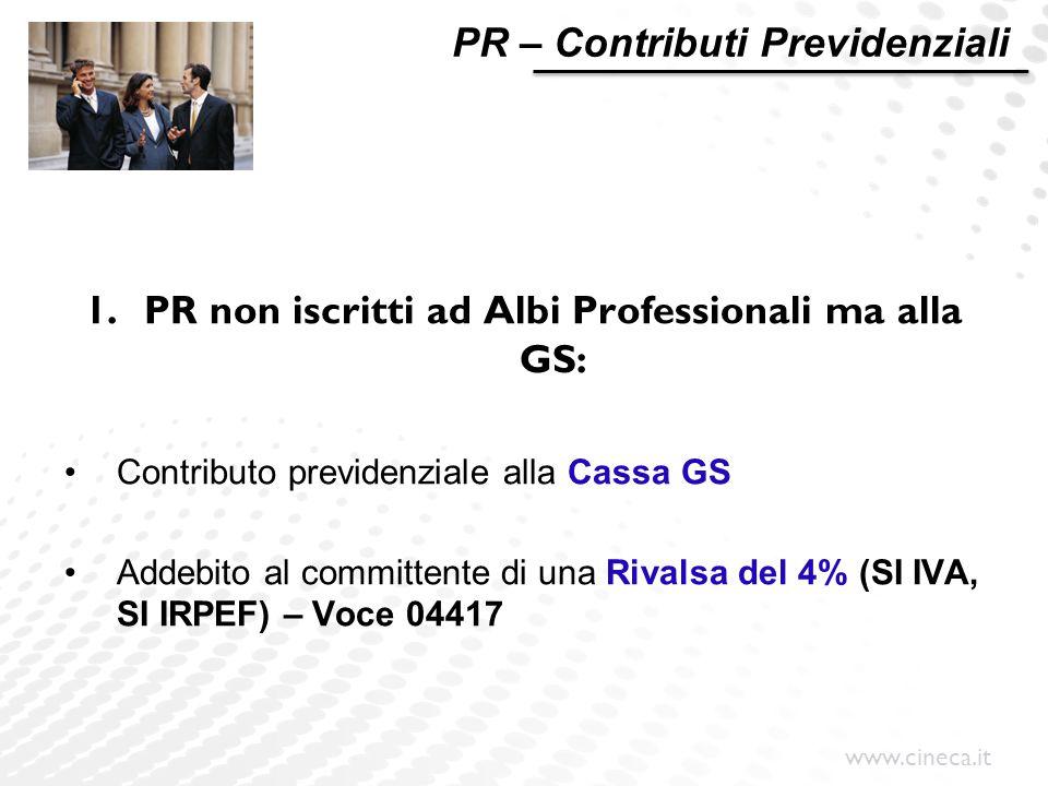 www.cineca.it PR – Contributi Previdenziali 1.PR non iscritti ad Albi Professionali ma alla GS: Contributo previdenziale alla Cassa GS Addebito al com