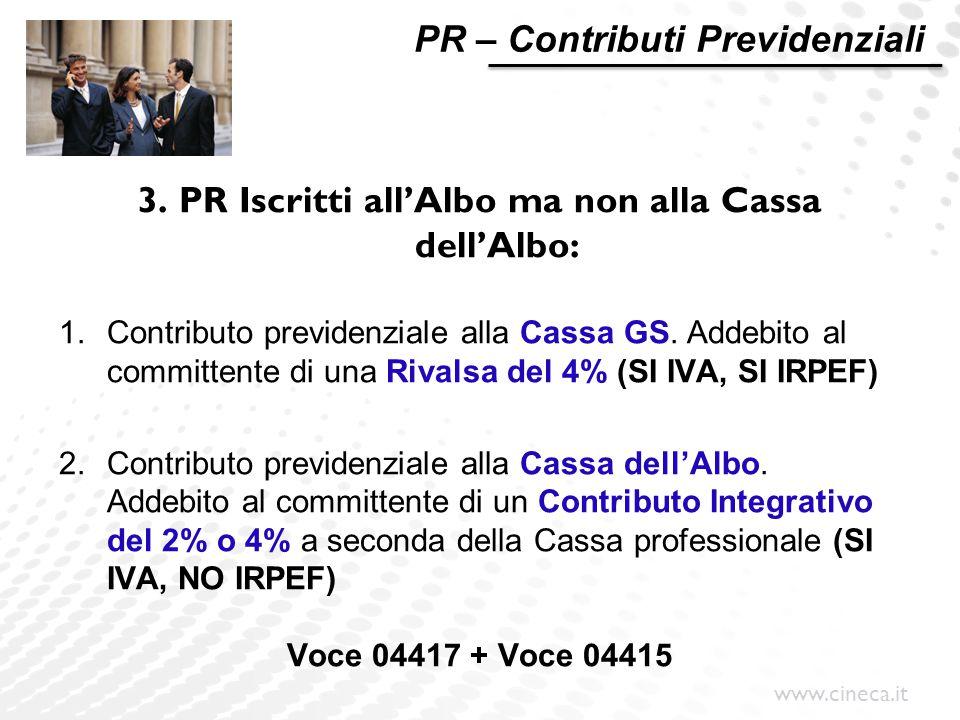 www.cineca.it PR – Contributi Previdenziali 3. PR Iscritti all'Albo ma non alla Cassa dell'Albo: 1.Contributo previdenziale alla Cassa GS. Addebito al