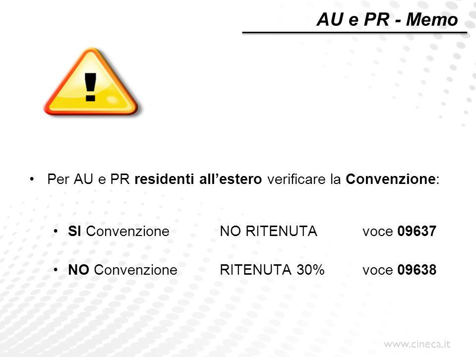 www.cineca.it Per AU e PR residenti all'estero verificare la Convenzione: SI ConvenzioneNO RITENUTAvoce 09637 NO ConvenzioneRITENUTA 30%voce 09638 AU