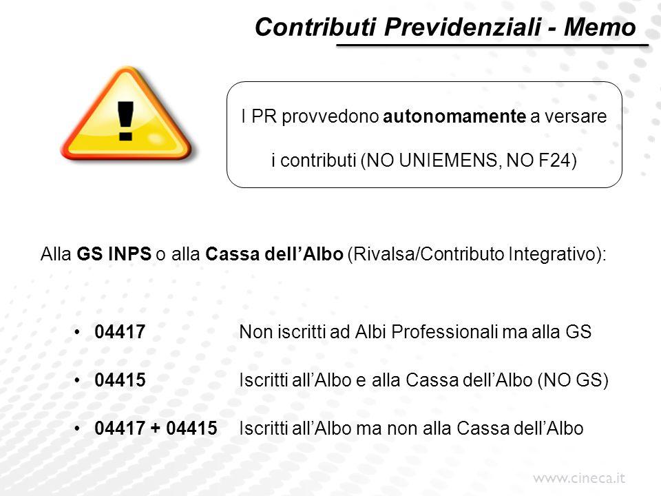 www.cineca.it Alla GS INPS o alla Cassa dell'Albo (Rivalsa/Contributo Integrativo): 04417Non iscritti ad Albi Professionali ma alla GS 04415Iscritti a