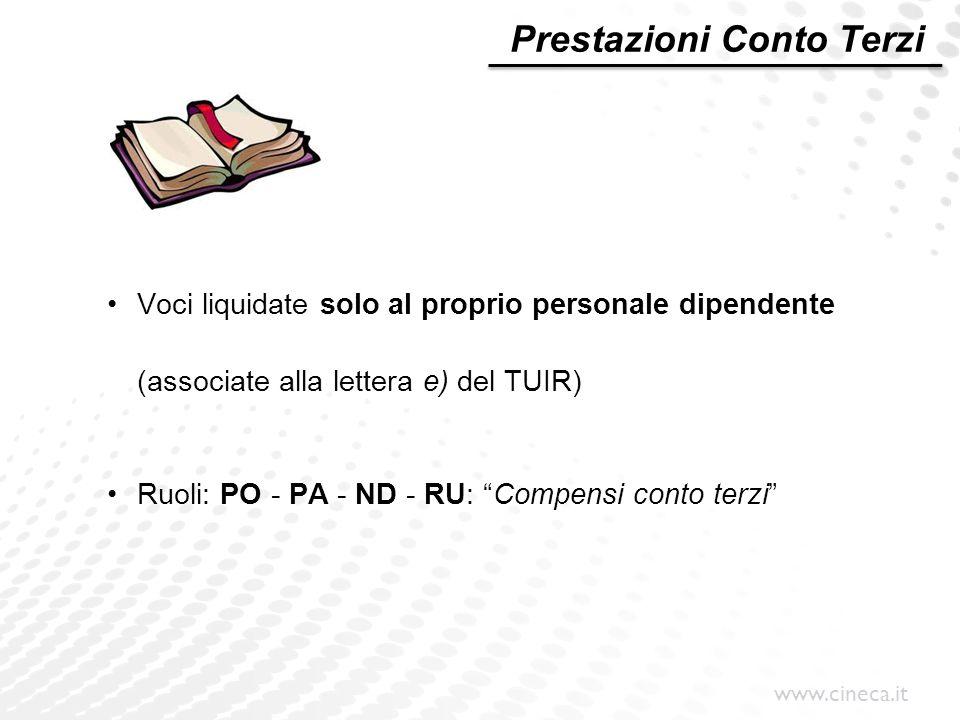 www.cineca.it Prestazioni Conto Terzi Voci liquidate solo al proprio personale dipendente (associate alla lettera e) del TUIR) Ruoli: PO - PA - ND - R