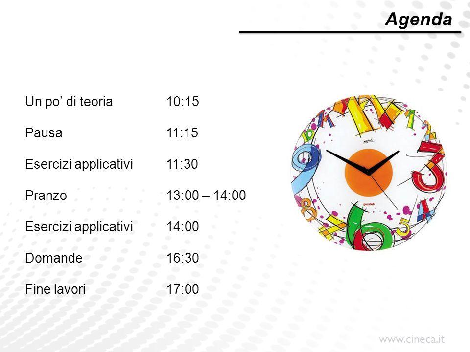 www.cineca.it Un po' di teoria10:15 Pausa11:15 Esercizi applicativi11:30 Pranzo13:00 – 14:00 Esercizi applicativi14:00 Domande16:30 Fine lavori17:00 A