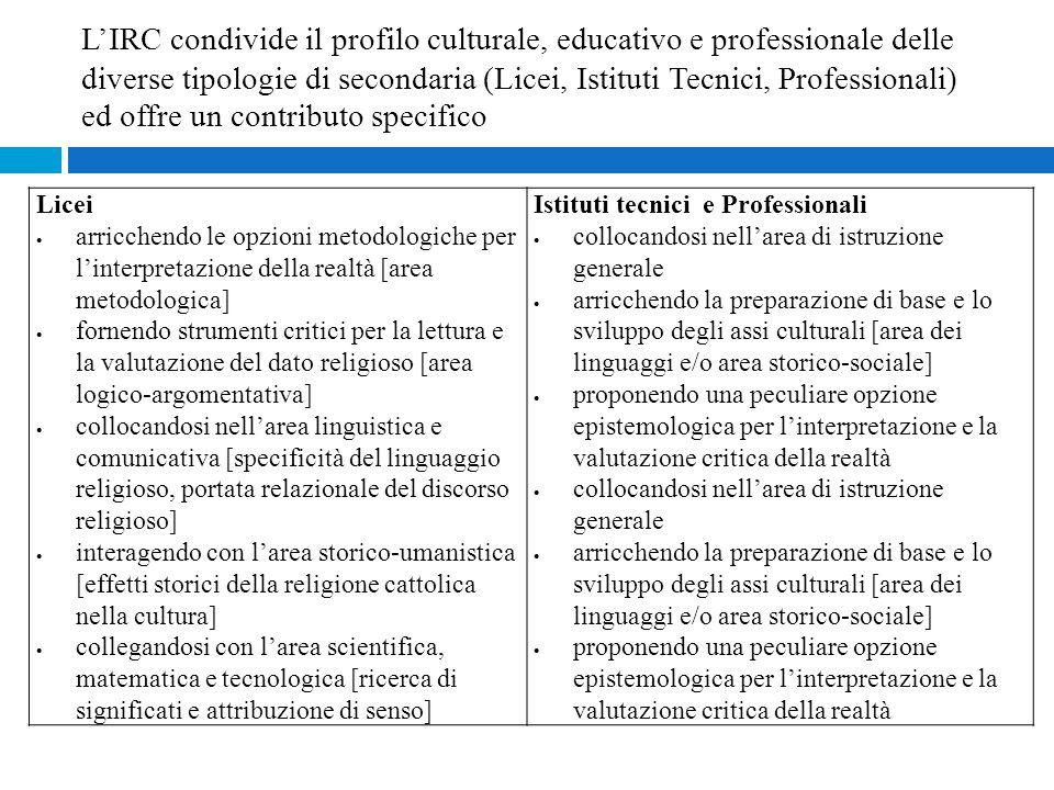 Licei  arricchendo le opzioni metodologiche per l'interpretazione della realtà [area metodologica]  fornendo strumenti critici per la lettura e la v