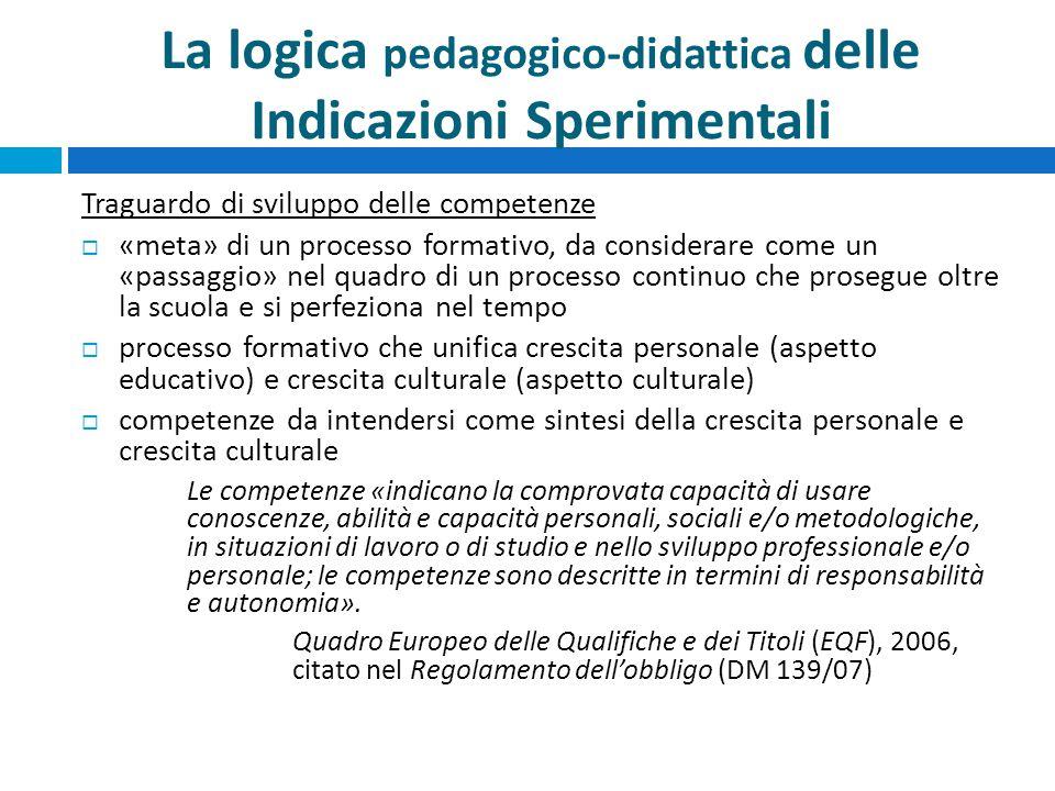La logica pedagogico-didattica delle Indicazioni Sperimentali Traguardo di sviluppo delle competenze  «meta» di un processo formativo, da considerare