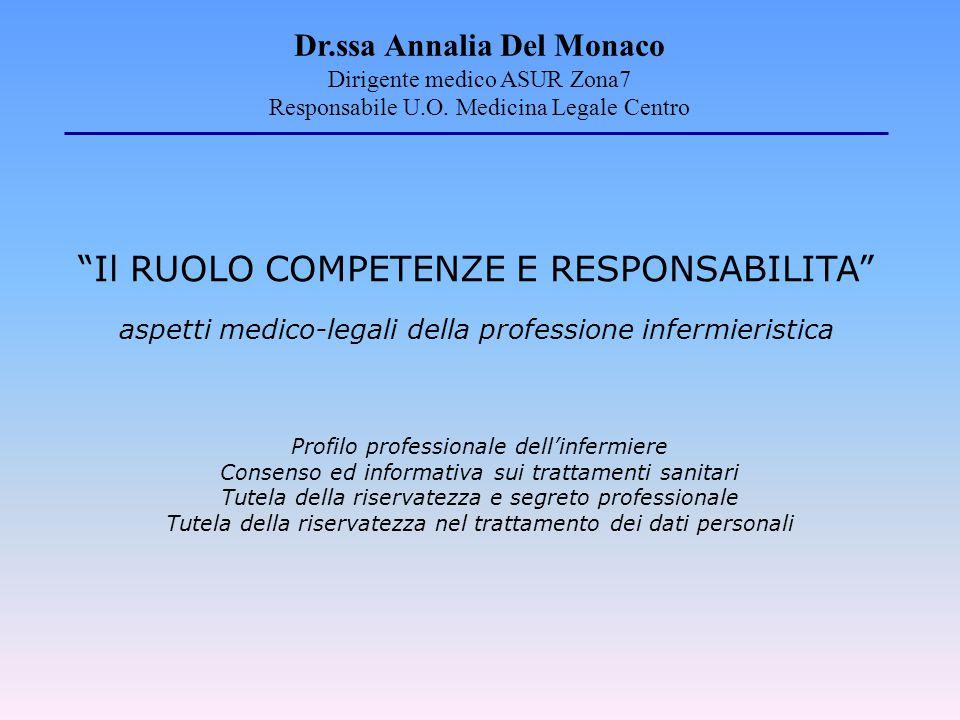 """""""Il RUOLO COMPETENZE E RESPONSABILITA"""" aspetti medico-legali della professione infermieristica Profilo professionale dell'infermiere Consenso ed infor"""