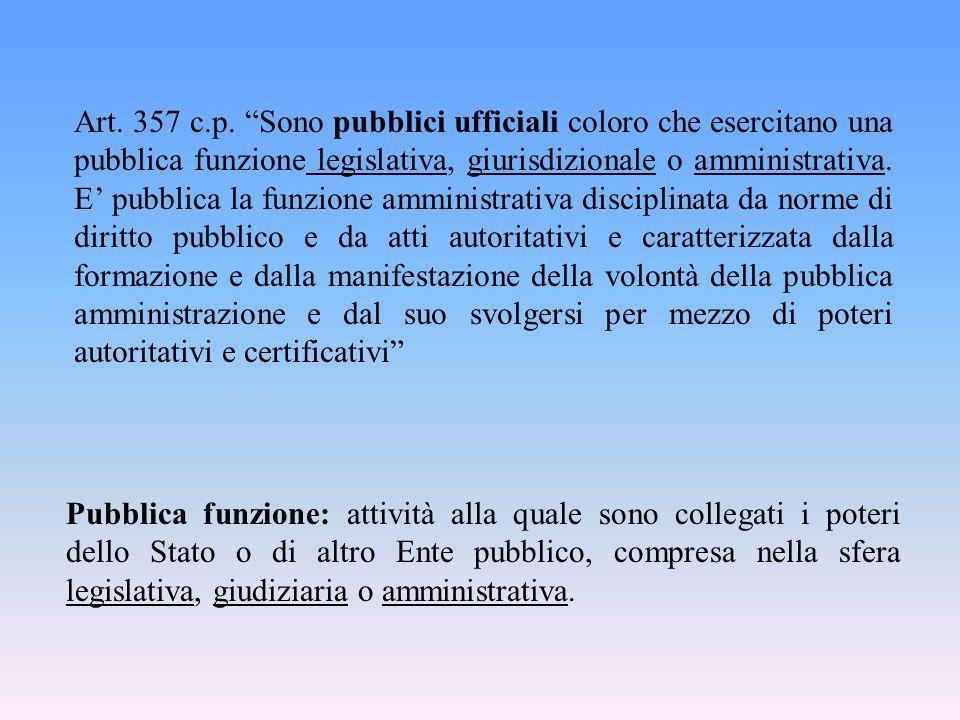 """Art. 357 c.p. """"Sono pubblici ufficiali coloro che esercitano una pubblica funzione legislativa, giurisdizionale o amministrativa. E' pubblica la funzi"""