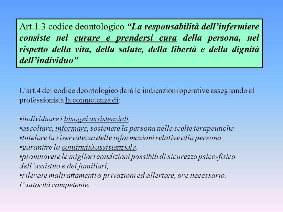L'art.4 del codice deontologico darà le indicazioni operative assegnando al professionista la competenza di: individuare i bisogni assistenziali, asco