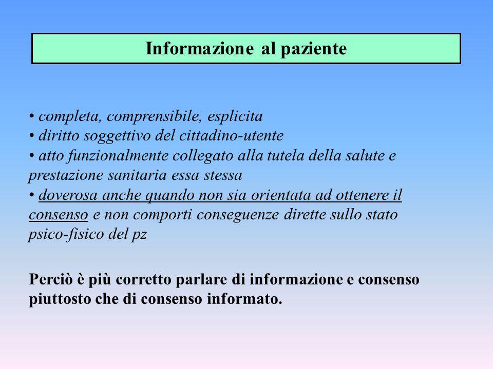 completa, comprensibile, esplicita diritto soggettivo del cittadino-utente atto funzionalmente collegato alla tutela della salute e prestazione sanita