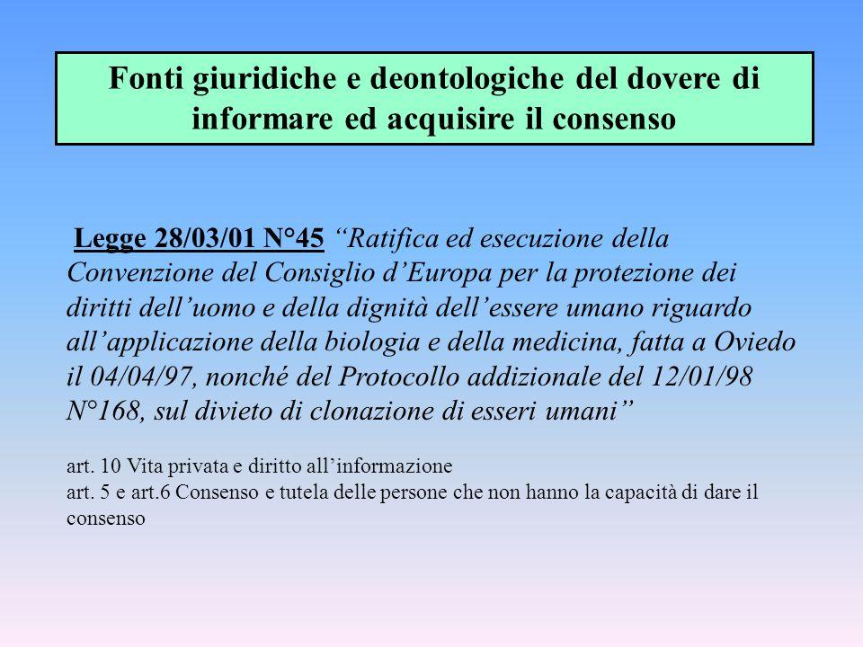 """Legge 28/03/01 N°45 """"Ratifica ed esecuzione della Convenzione del Consiglio d'Europa per la protezione dei diritti dell'uomo e della dignità dell'esse"""
