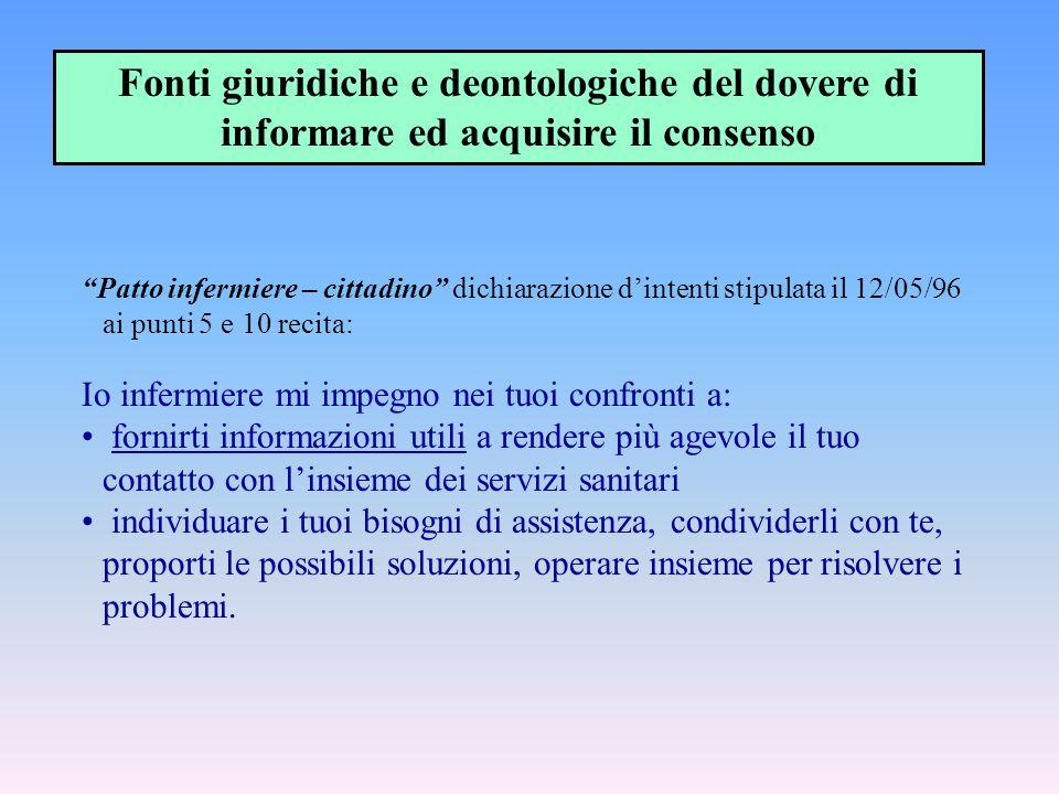 """""""Patto infermiere – cittadino"""" dichiarazione d'intenti stipulata il 12/05/96 ai punti 5 e 10 recita: Io infermiere mi impegno nei tuoi confronti a: fo"""