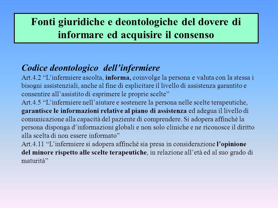 """Codice deontologico dell'infermiere Art.4.2 """"L'infermiere ascolta, informa, coinvolge la persona e valuta con la stessa i bisogni assistenziali, anche"""