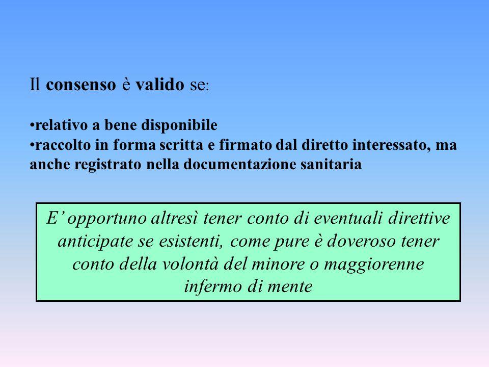 Il consenso è valido se : relativo a bene disponibile raccolto in forma scritta e firmato dal diretto interessato, ma anche registrato nella documenta