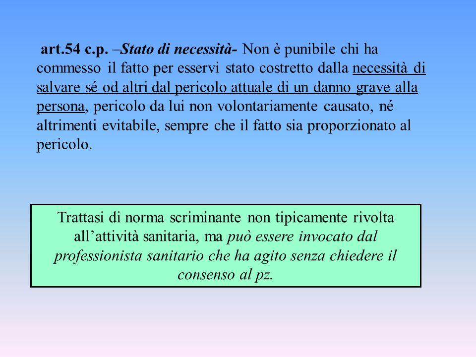 art.54 c.p. –Stato di necessità- Non è punibile chi ha commesso il fatto per esservi stato costretto dalla necessità di salvare sé od altri dal perico