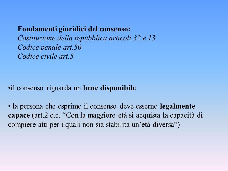 """il consenso riguarda un bene disponibile la persona che esprime il consenso deve esserne legalmente capace (art.2 c.c. """"Con la maggiore età si acquist"""