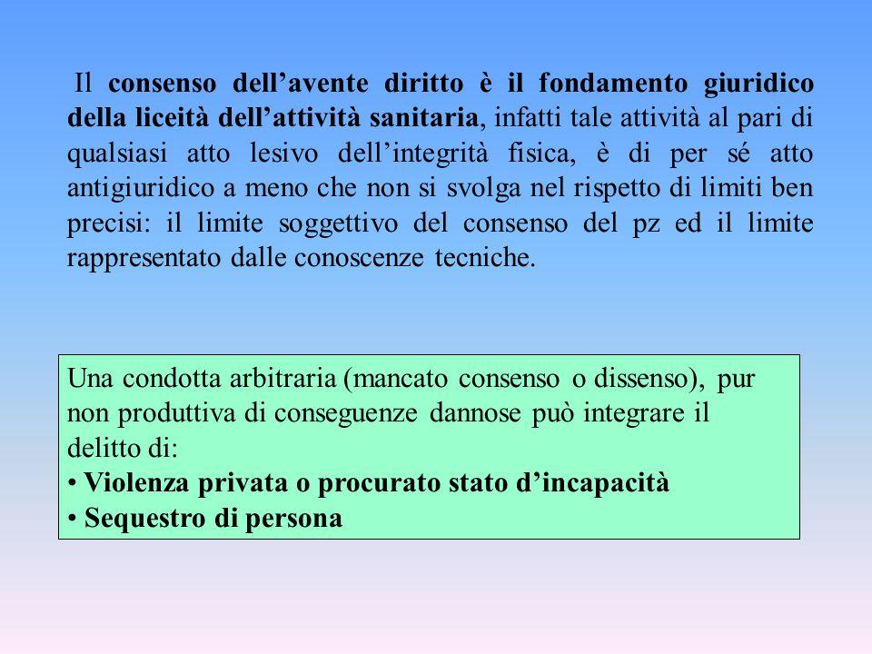 Una condotta arbitraria (mancato consenso o dissenso), pur non produttiva di conseguenze dannose può integrare il delitto di: Violenza privata o procu
