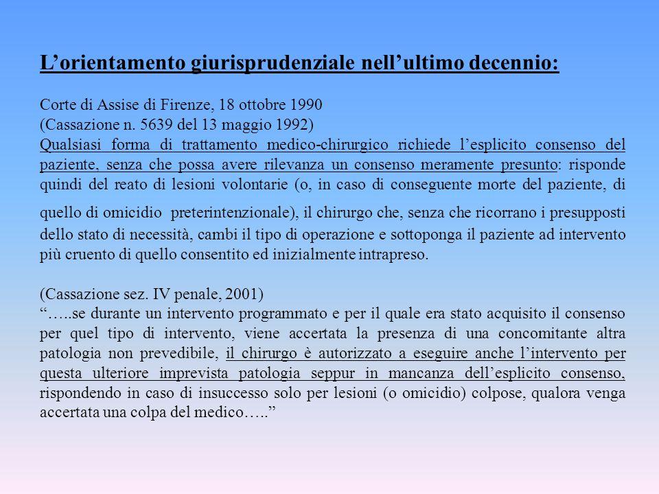L'orientamento giurisprudenziale nell'ultimo decennio: Corte di Assise di Firenze, 18 ottobre 1990 (Cassazione n. 5639 del 13 maggio 1992) Qualsiasi f