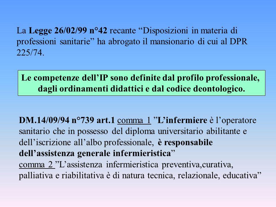 """La Legge 26/02/99 n°42 recante """"Disposizioni in materia di professioni sanitarie"""" ha abrogato il mansionario di cui al DPR 225/74. DM.14/09/94 n°739 a"""