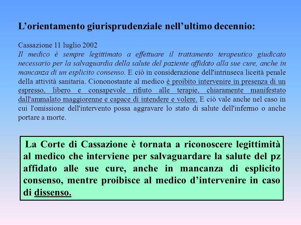 L'orientamento giurisprudenziale nell'ultimo decennio: Cassazione 11 luglio 2002 Il medico è sempre legittimato a effettuare il trattamento terapeutic