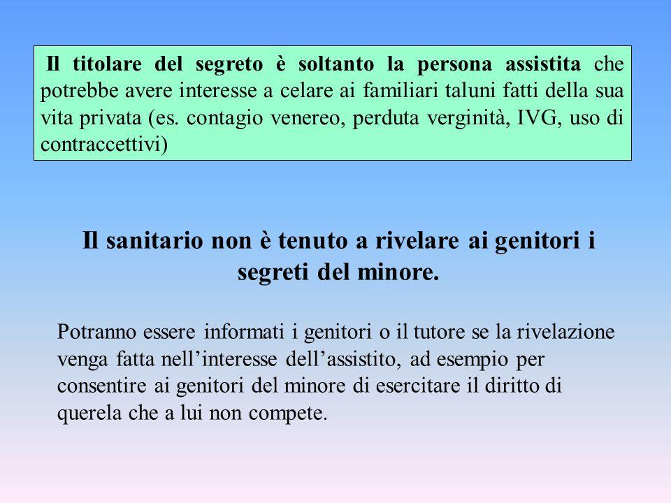 Il titolare del segreto è soltanto la persona assistita che potrebbe avere interesse a celare ai familiari taluni fatti della sua vita privata (es. co