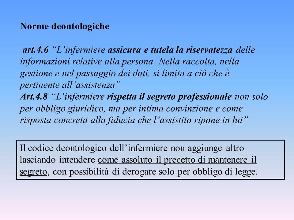 """Norme deontologiche art.4.6 """"L'infermiere assicura e tutela la riservatezza delle informazioni relative alla persona. Nella raccolta, nella gestione e"""