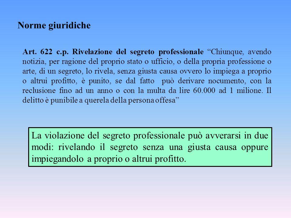 """Norme giuridiche Art. 622 c.p. Rivelazione del segreto professionale """"Chiunque, avendo notizia, per ragione del proprio stato o ufficio, o della propr"""